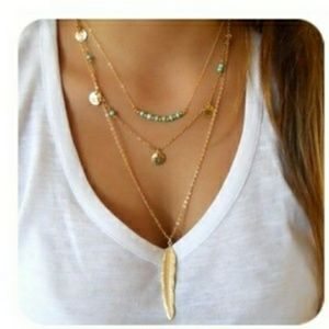 Gold Multilayered Bar Necklace Feather Pendant